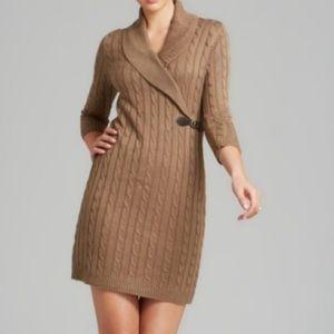 Calvin Klein Taupe Knit Wrap Buckle Dress